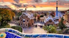 Barcelona, Park Guell, Spain - nobody, Time lapse Stock Footage