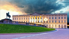 Royal palace in Oslo, Norway - Time lapse Stock Footage