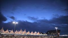Sunrise over Denver International airport. Stock Footage