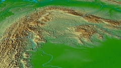 Glide over Carpathian mountain range - masks. Colored physical map Stock Footage
