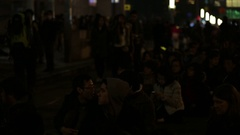 Crowd On Streets Taipei Waiting For see Fireworks in New Year Celebration 2015 Stock Footage