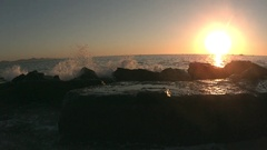 Waves Crashing on Rocks in Cabo at Sunrise in Slow Motion  Stock Footage
