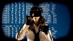 Virtual girl mu source code scrambled crypto Stock Footage