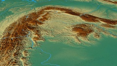 Glide over Carpathian mountain range - masks. Relief map Stock Footage