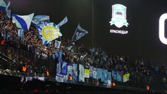 Krasnodar, Russia - November 27, 2016: Fans at stadium on soccer match between Stock Footage