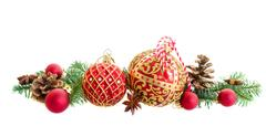 Christmas balls and evergreen twigs Stock Photos