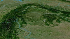 Glide over Carpathian mountain range - masks. Satellite imagery Stock Footage