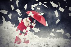 Santa claus vs requested letters gifts. 3D Rendering Stock Illustration