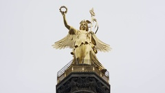 Berlin Victory Column, Siegessaule, statue of Victoria, close up, Germany Stock Footage