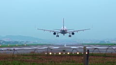 Slow motion Commercial Passenger Airplane Take Off Landing, national Airport-Dan Stock Footage