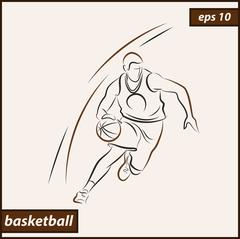 Basketball player in the attack Stock Illustration