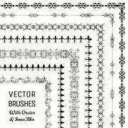 Vector Brushes with Outer and Inner Tiles Collection Stock Illustration