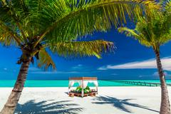 Tropical beach, beautiful blue sky, palm trees and place to relax Stock Photos