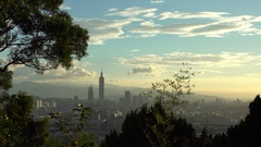 4K skyline of Taipei city with the iconic Taipei 101 building towering -Dan Stock Footage