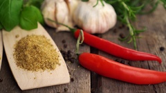 Spices and herbs. sliding 4k footage Stock Footage