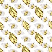 Autumn seamless white floral pattern Stock Illustration