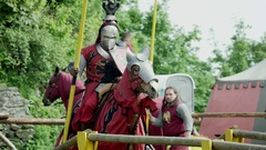 Knight Tournament with lances Stock Footage