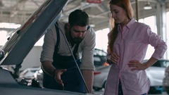 Car Engine Check at Repair Shop Stock Footage