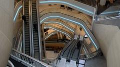 Escalator in shopping mall Stock Footage
