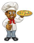 Black Pizza Chef Cartoon Character Stock Illustration