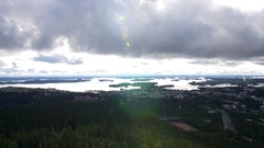 View from Kuopio Puijo tower to Finnish Lakeland Stock Footage