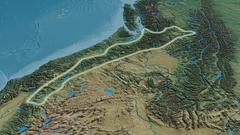 Revolution around Cascade mountain range - glowed. Natural Earth Stock Footage