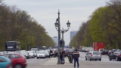 Busy road with traffic from Berlin Victory Column, Germany Stock Footage