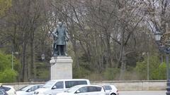Albrecht von Roon statue, Berlin, Germany Stock Footage