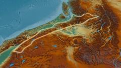 Revolution around Cascade mountain range - glowed. Relief map Stock Footage