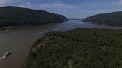 Hudson River Highlands Aerial View near West Point. Stock Footage