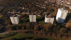 Aerial view of high rise tower blocks. Stock Footage