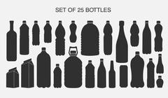 25 isolated shapes of bottles Stock Illustration