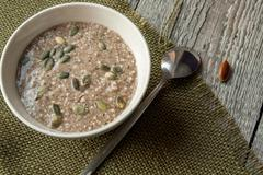 Very healthy porridge hemp linen with seaweed. Stock Photos