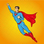 Vector illustration of flying up superman, retro pop art style Piirros