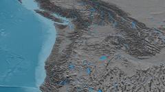 Revolution around Cascade mountain range - masks. Elevation map Stock Footage