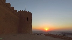 Sunset at Riffa Fort, Bahrain - Middle East Stock Footage