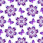 Seamless pattern with violet vintage flowers Stock Illustration