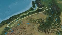 Revolution around Cascade mountain range - glowed. Topographic map Stock Footage