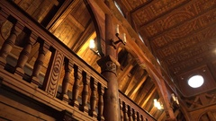 4k Wooden Stave Church interior low angle panning Hahnenklee Harz Stock Footage