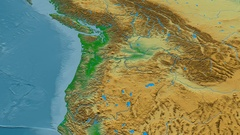 Revolution around Cascade mountain range - masks. Colored physical map Stock Footage