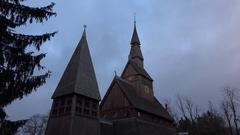 4k Wooden Stave Church Hahnenklee Harz mountain range Stock Footage