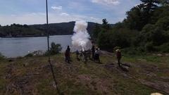 Napoleon American Civil War Cannon firing Stock Footage