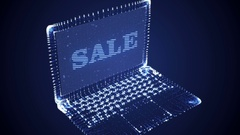 Laptop Hologram with SALE text Stock Footage