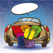 Vector illustration of car trunk with gifts, pop art style Stock Illustration