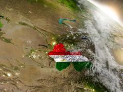 Tajikistan with flag in rising sun Stock Illustration