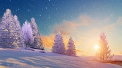 Peaceful snowy winter landscape at sunset 4K Stock Footage