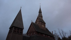 4k Wooden Stave Church Hahnenklee Harz clouds timelapse Stock Footage