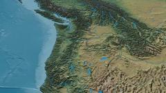 Revolution around Cascade mountain range - masks. Natural Earth Stock Footage