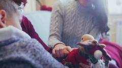 Christmas toy - Christmas deer, assistant Santa, reindeer Rudoflf Stock Footage