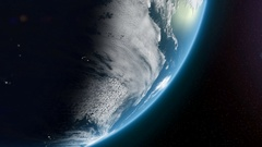 Close up on the Southern Hemisphere as the earth spins from Night into Day Stock Footage